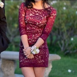 Burgundy maroon lacy bodycon dress